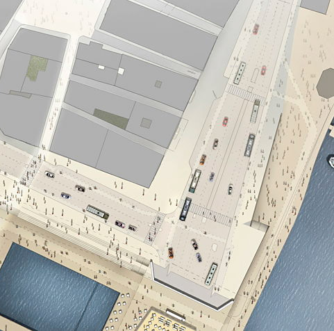 Illustration av kajplan på Munkbron/Skeppsbron