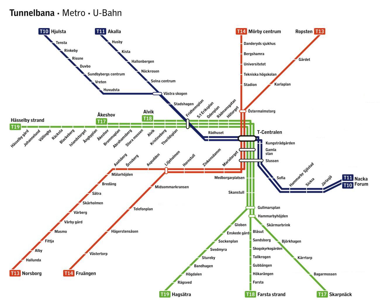 Sthlm Tunnelbanekarta Sa Har Stockholms Tunnelbana Vaxt