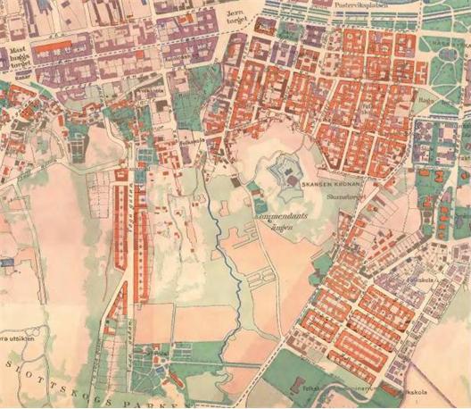 Karta över Olivedal innan stad byggdes där