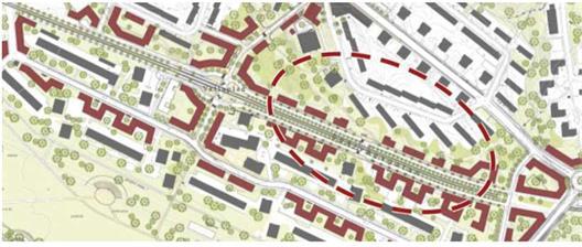 Ursprunglig plan från programmet från 2005. Området som berörs av detaljplanen ?Sävlången? är omringat av den röda streckade cirkeln. Här ser vi urbana stråk med hus längs gatorna med lokaler i bottenvåningen.