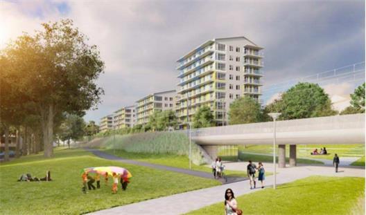 Innerstad? Knappast. Trots höga ambitioner slutar det ändå med punkthus i park. Det som ska motsvara ?Årstastråket? är alltså gångvägen som går parallellt med Tvärbanan.