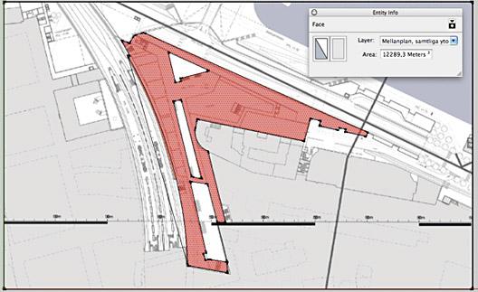 2af65570dbd Räknar vi allt innanför väggarna utom tunnelbanestationen, bussteminalen,  Saltsjöbanans perronger och ytorna märkta