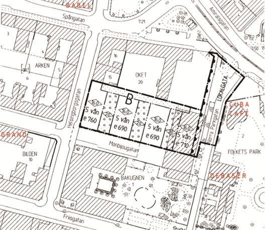 Fastigheten Oket 22 med beteckningen B för bostäder
